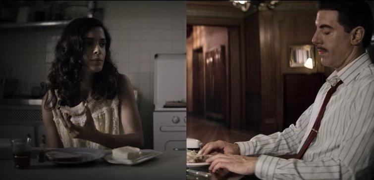 Hadar Ratzon Rotem and Sacha Baron Cohen in The Spy