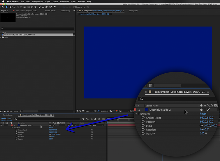 A Solid Color Layer inside After Effects.