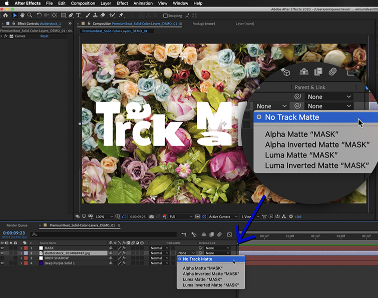 """Under the column marked """"TrkMat"""" you can apply a Track Matte to a layer."""