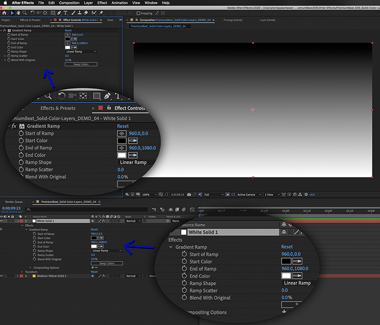 You can adjust an effect's settings in either the Effect Controls Panel or in the timeline.