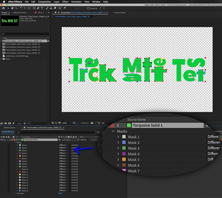 A vector art pasted onto a layer in After Effects becomes several editable Mask Paths.