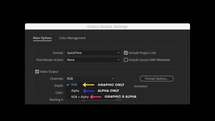 After Effects: Output Module Settings