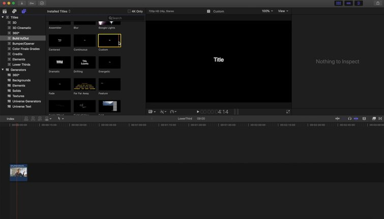 FCPX: Titles Sidebar