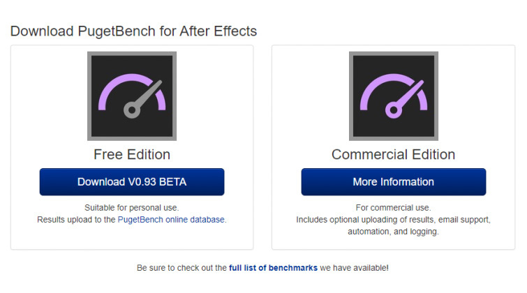 Video Editor Benchmark Tests: Puget Systems After Effects Benchmark