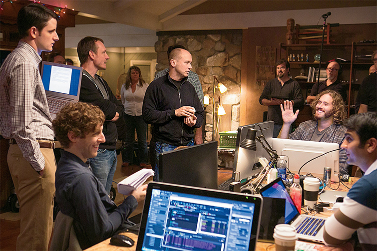 Showrunner Mike Judge with Silicon Valley Cast