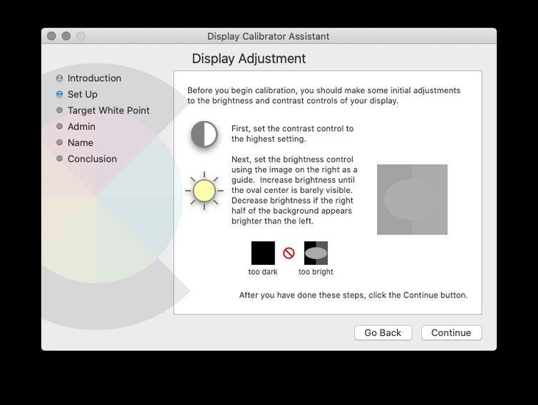 Calibrating with macOS: Adjust Brightness