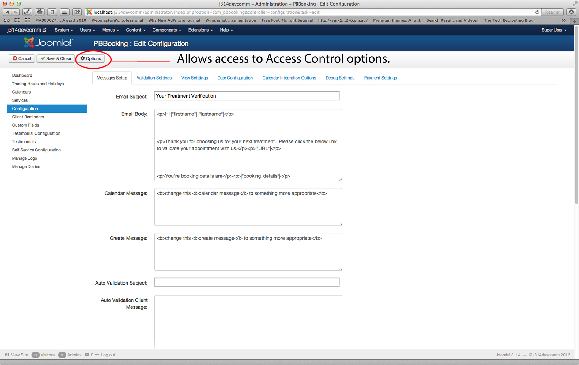 Access the Access Control settings from the main configuration