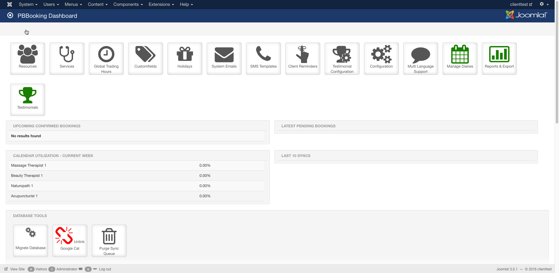 The Main Pbbooking Dashboard