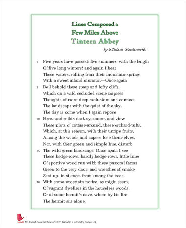 lines written a few miles above tintern To learn more, review the accompanying lesson on this poem titled 'lines composed a few miles above tintern abbey' by wordsworth this lesson covers the following objectives: describe the.