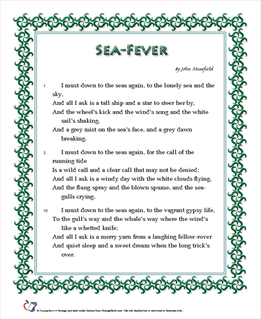 an analysis of the structure of the poem sea fever by john masefield Ship, sail, boat: the age of sea shanties  while we learn a little about structure through the poem, sea fever by john masefield filed  poem analysis: anne.