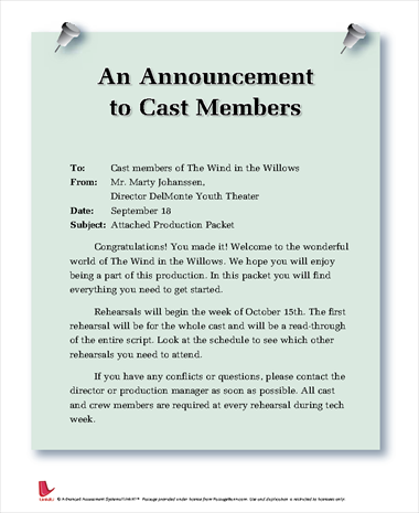An Announcement to Cast Members