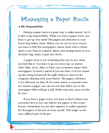 Managing a Paper Route