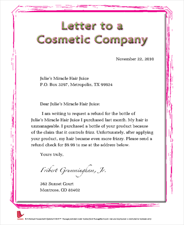 Letter to a Cosmetic Company