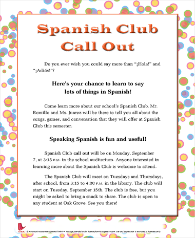 Spanish Club Call Out