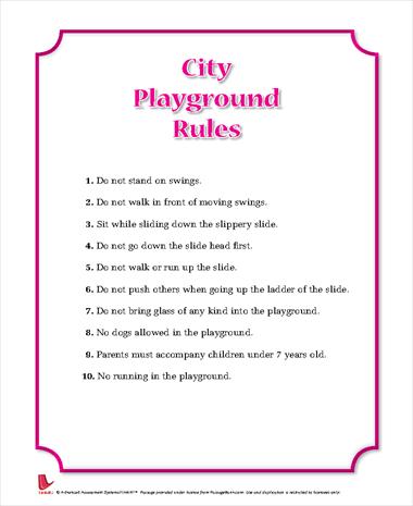 City Playground Rules