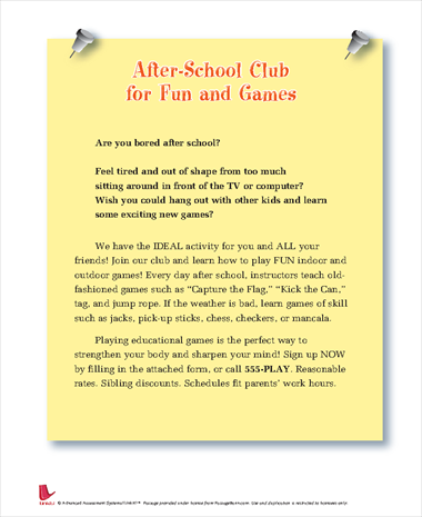 After-School Club for Fun and Games