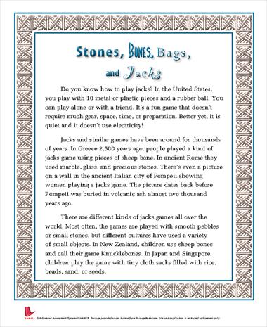 Stones, Bones, Bags, and Jacks
