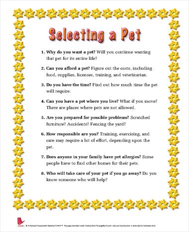 Selecting a Pet