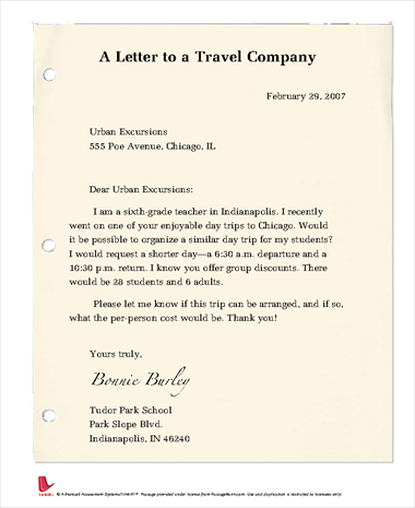 A Letter to a Travel Company