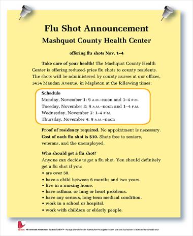 Flu Shot Announcement