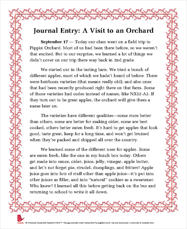 Journal Entry: A Visit to an Orchard