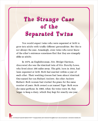 The Strange Case of the Separated Twins