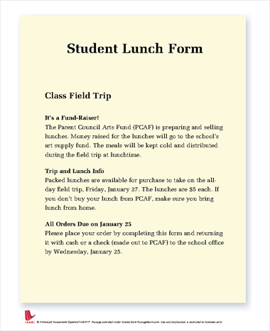 Student Lunch Form