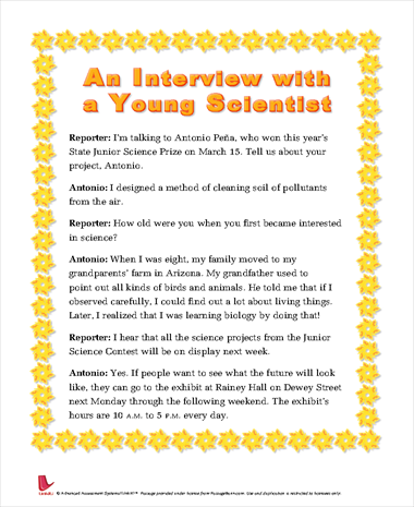 An Interview of a Young Scientist