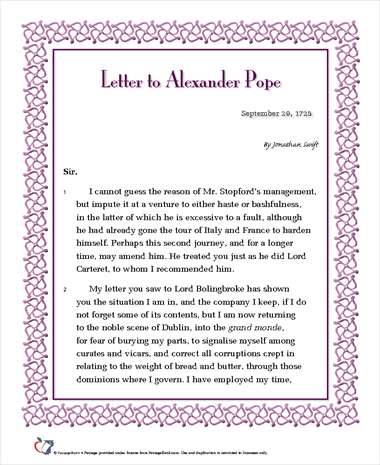 Letter to Alexander Pope