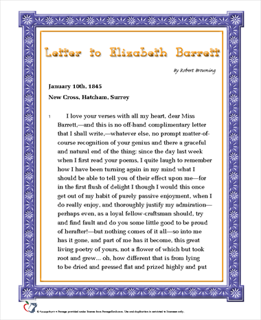 Letter to Elizabeth Barrett