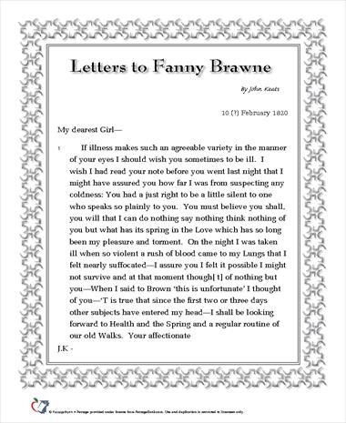 Letters to Fanny Brawne