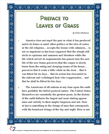 Preface to Leaves of Grass