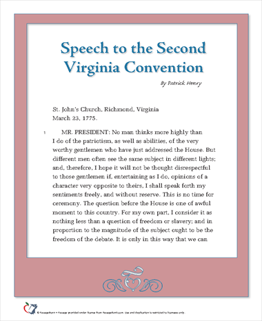 Speech to the Second Virginia Convention