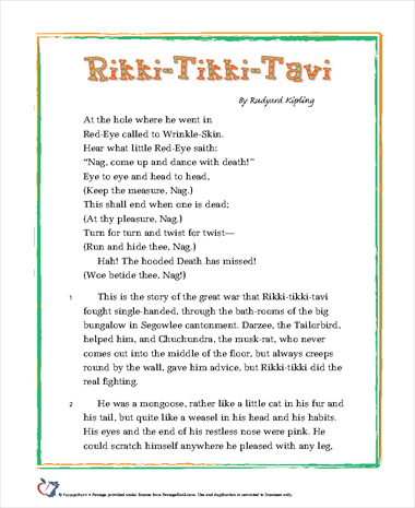 essay questions for rikki-tikki-tavi Rikki-tikki-tavi supplemental activities packet this packet contains classroom activity suggestions and worksheets to reinforce concepts from the playbook the story of rikki-tikki-tavi demonstrates some of the food chain or food web links between animals in the indian garden environment.