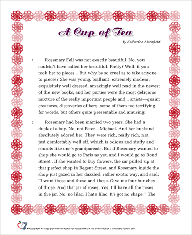 """a cup of tea by katherine mansfield essay This 16-page guide for """"miss brill"""" by katherine mansfield includes detailed summaries and analysis  25 important quotes, essay topics."""
