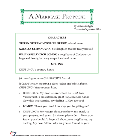 a marriage proposal anton chekhov essay A marriage proposal, by anton chekhov free essay, term paper and book report chekhov is one of russia's many important literary figures, and one of the greatest playwrights of modern times.