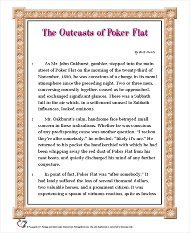 """outcasts of poker flat essay questions Hide a paper option free essay topics free q&a free gpa free guides blog what is studentshare   outcasts of poker flat"""" (1869), one of the celebrated short ."""