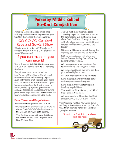 Pomeroy Middle School Go-Kart Competition