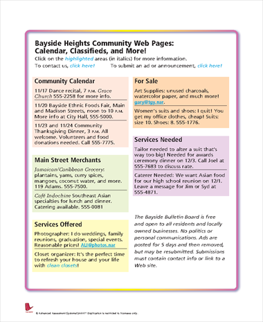 Bayside Heights Community Web Pages