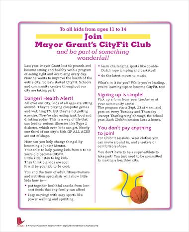 Join Mayor Grant's CityFit Club