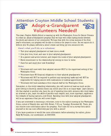 Attention Crayton Middle School Students: Adopt-A-Grandparent