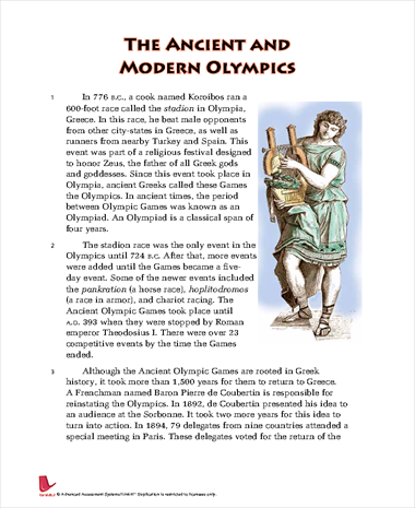 The Ancient and Modern Olympics