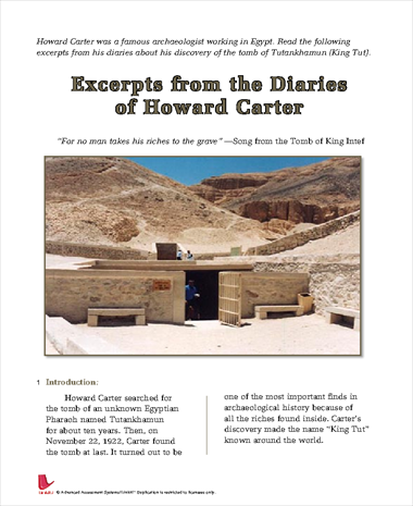 Excerpts from the Diaries of Howard Carter