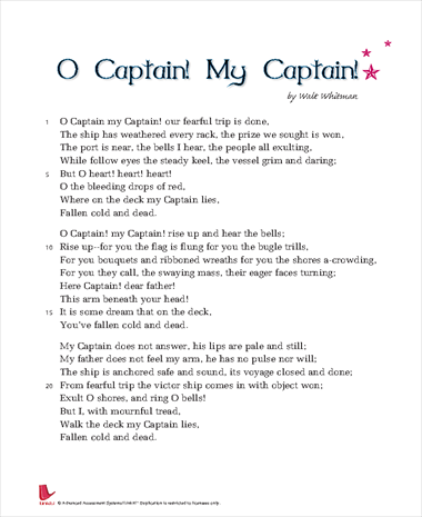 o captain my captain by walt Roll of thunder, hear my cry sahara special the scarlet letter  library o captain my captain about blog careers contact donate faq partners press.