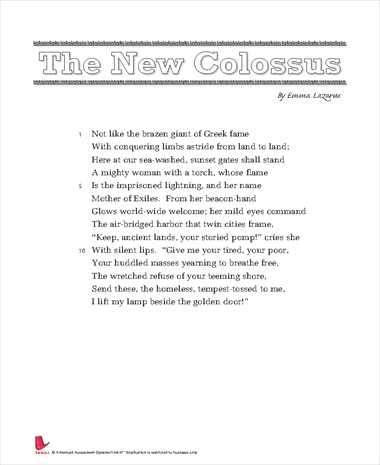 emma lazarus the new colossus interpretation
