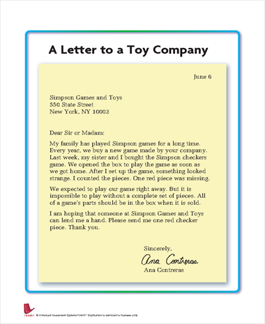 Letter to a Toy Company