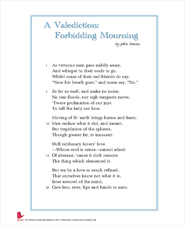 a valediction forbidding mourning essay question Essay: john donne the poem a valediction: forbidden mourning is a perfect example of the combination of reason and intelligence to he questions this in line.