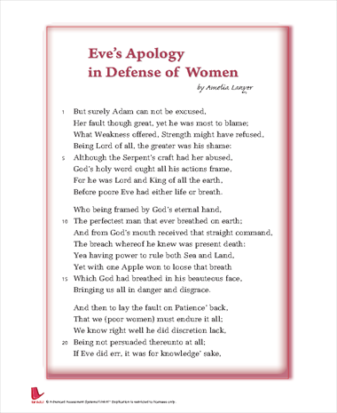 sarcasm and irony in eves apology in defense of women by aemilia lanyer