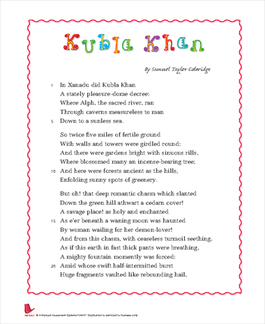"kubla khan romantic poem Read expert analysis on themes in kubla khan there is ""the deep romantic chasm,"" the coleridge's ""kubla khan"" is thus a poem aware of."