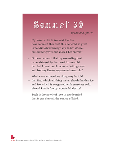 analysis of sonnet 30 by edmund spenser Sonnet 30 edmund spenser study guides, lesson plans , get an answer for 'please give a summary of sonnet 30 of edmund spenser's amoretti, and what is the main.